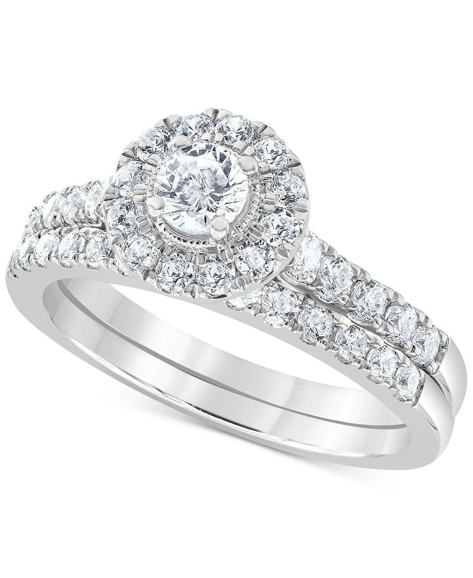 <p>This <span>Diamond Halo Bridal Set</span> ($2,100) will never go out of style.</p>