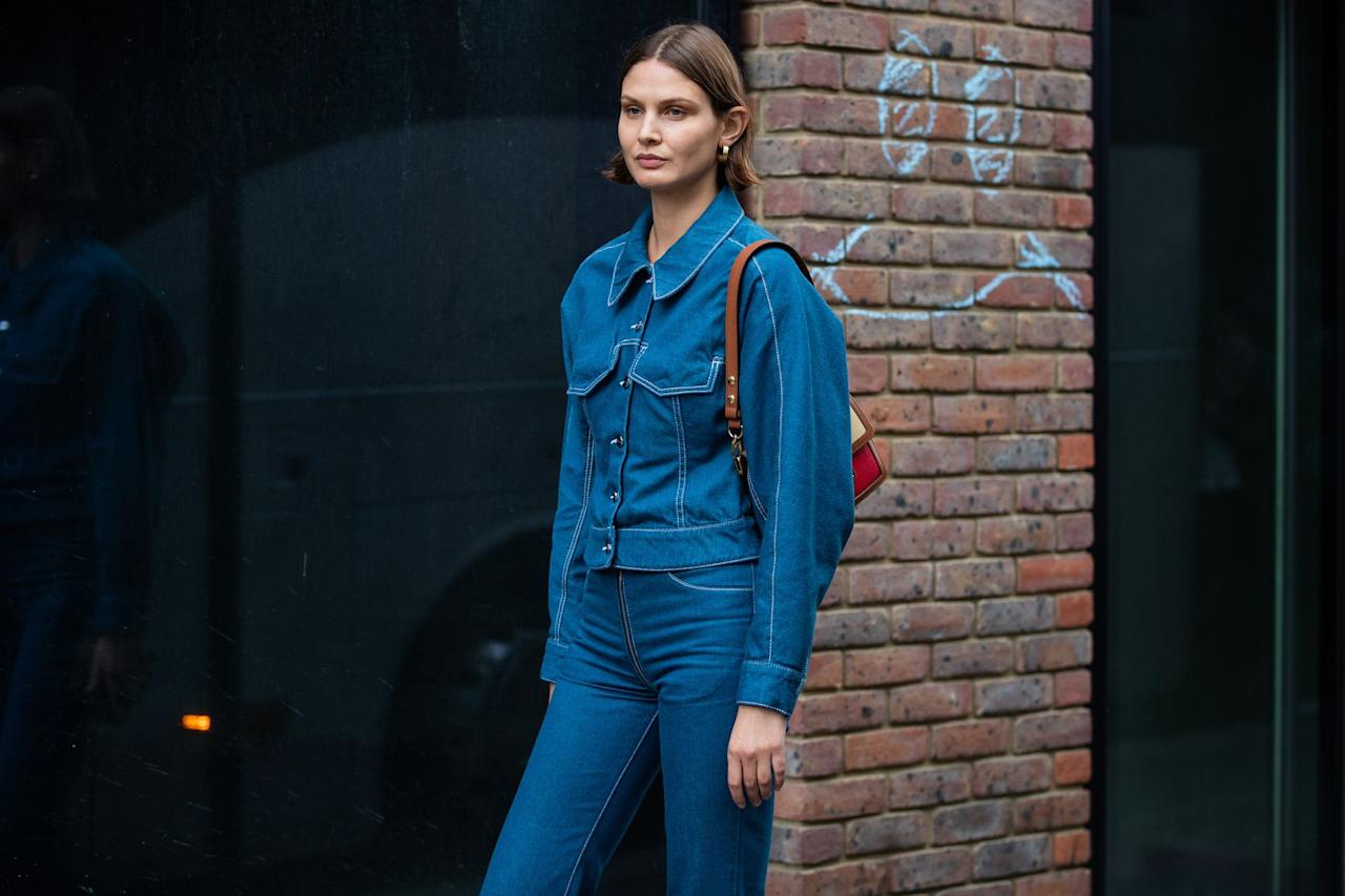 """<p><a href=""""https://www.elle.com/uk/how-to-wear-denim/"""" target=""""_blank"""">Denim</a> jackets always seem poised for a 'big return'. But then, perhaps, they never really ever go away. Lightweight enough to throw on over a <a href=""""https://www.elle.com/uk/fashion/what-to-wear/articles/g30585/best-summer-dresses-maxi-midi-mini/"""" target=""""_blank"""">summer dress,</a> but versatile enough that they'll protect you from unpredictable British weather, they're an easy piece of <a href=""""https://www.elle.com/uk/fashion/what-to-wear/articles/g30326/best-lightweight-spring-jackets-coats-to-buy-now/"""" target=""""_blank"""">transitional outerwear</a>. And considering denim jackets have popped up on the runways of Balenciaga, Miu Miu, Chanel, Off-White, Kenzo and Vetements, for such a casual item, they sure have high fashion credentials. Denim jacket outfits can often be a misstep, however, by dressing an outfit down too far. The wrong kind of denim can cheapen a look. So to help you figure out your denim jacket outfit and how to style it, we've collected some great inspiration:</p>"""