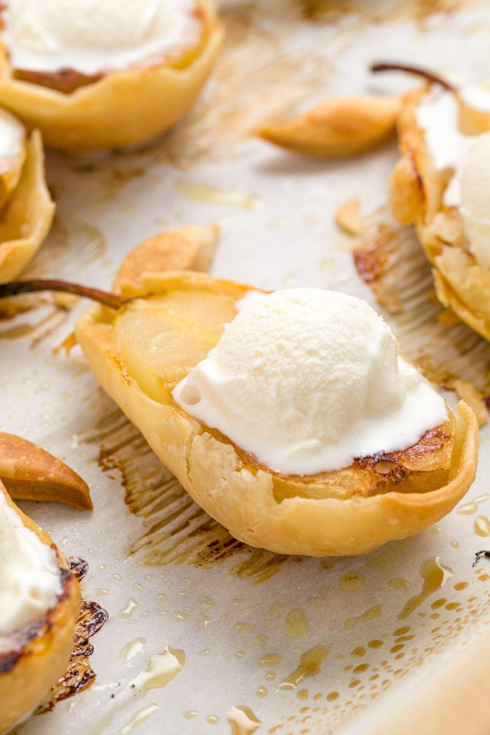 """<p>Apples, it was nice meeting you, but pie crust-covered pears are where it's at.<br></p><p>Get the recipe from <a href=""""https://www.delish.com/cooking/recipe-ideas/recipes/a44158/baked-pear-pies-recipe/"""" rel=""""nofollow noopener"""" target=""""_blank"""" data-ylk=""""slk:Delish"""" class=""""link rapid-noclick-resp"""">Delish</a>.</p>"""