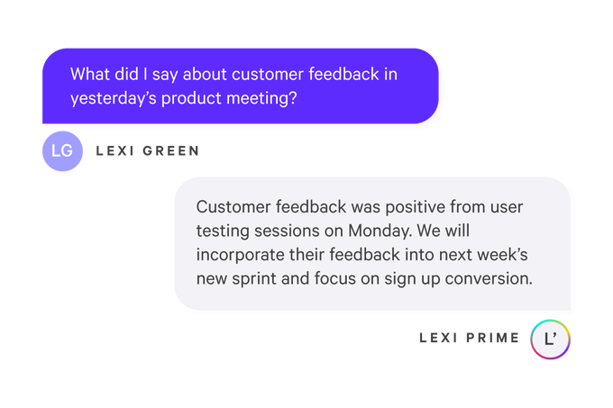 Luther.ai search results recalling what person said at meeting the other day about customer feedback.