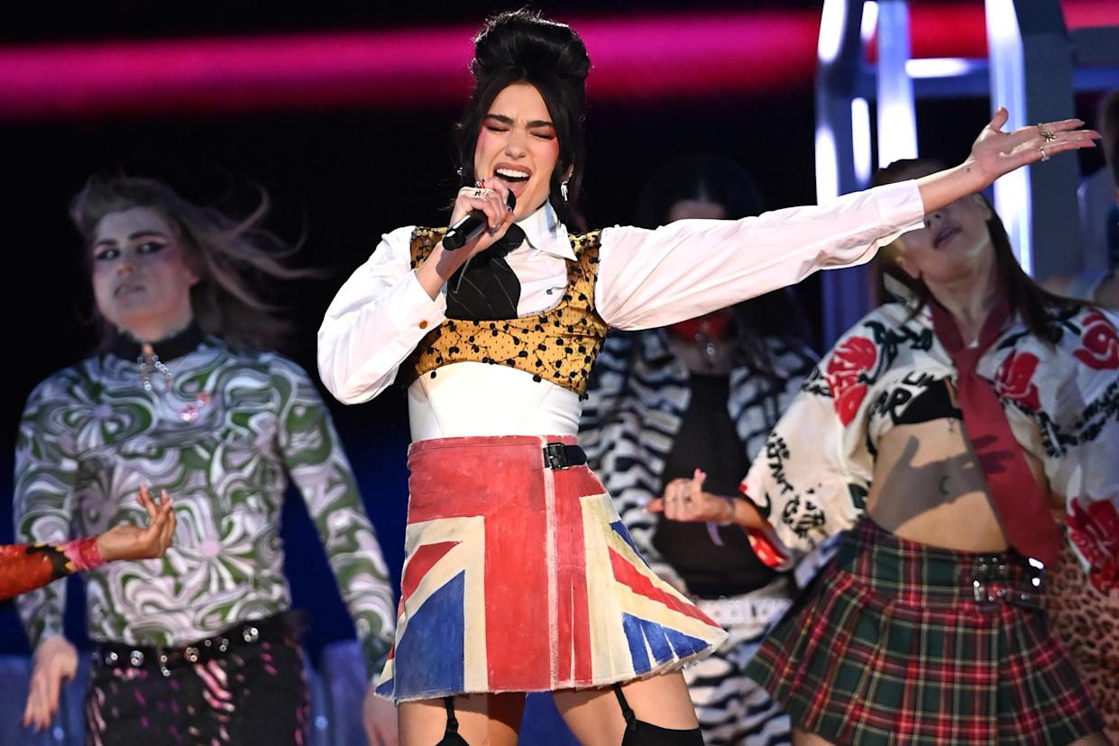 LONDON, ENGLAND - MAY 11: Dua Lipa performs on stage during The BRIT Awards 2021 at The O2 Arena on May 11, 2021 in London, England. (Photo by Dave J Hogan/Getty Images)