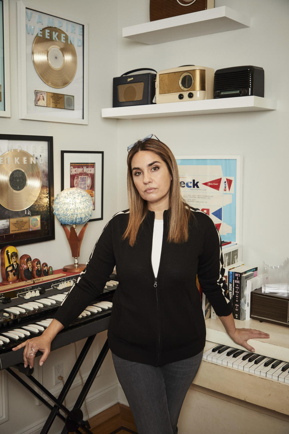 Mastering engineer Emily Lazar poses for a portrait in New York on Dec. 28, 2020. Lazar is nominated three times in the album of the year category thanks to her work on albums from HAIM, Coldplay and Jacob Collier. The 63rd Annual Grammy Awards will be held on March 14. (Photo by Matt Licari/Invision/AP)