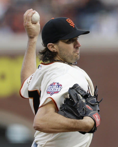 San Francisco Giants' Barry Zito throws during the first inning of Game 1 of baseball's World Series against the Detroit Tigers Wednesday, Oct. 24, 2012, in San Francisco. (AP Photo/Marcio Jose Sanchez)