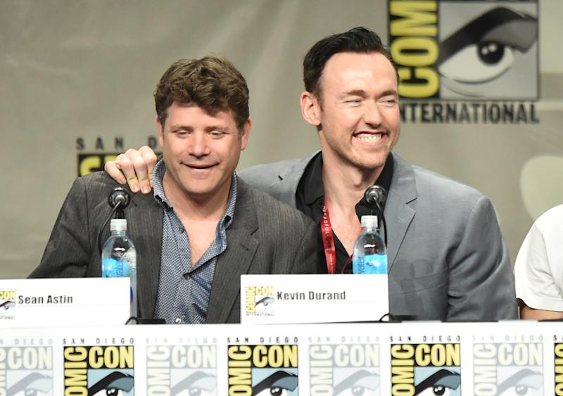 Actors Sean Astin (L) and Kevin Durand attend FX's 'The Strain' panel during Comic-Con International, at San Diego Convention Center, on July 27, 2014 (AFP Photo/Kevin Winter)