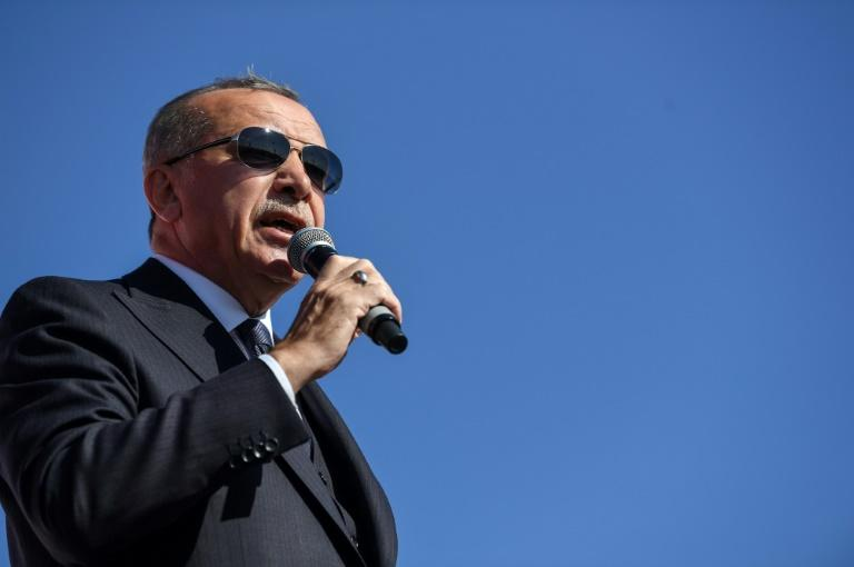 "Turkish President Tayyip Erdogan (pictured March 24, 2019) said that US President Donald Trump is ""behaving like a bully boy"""