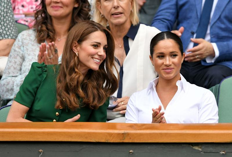 Kate Middleton and Meghan Markle at WImbledon 2019 | Karwai Tang/Getty Images