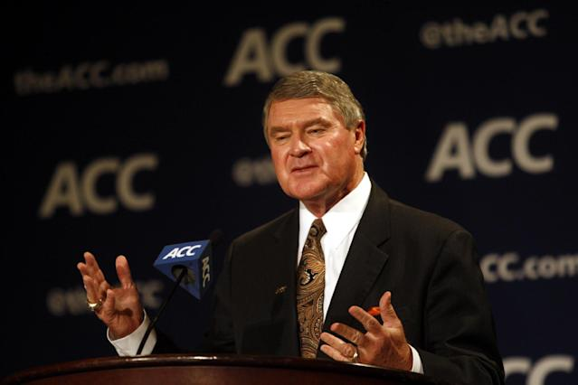 Atlantic Coast Conference Commissioner John Swofford speaks at a press conference during the NCAA college basketball Atlantic Coast Conference media day in Charlotte, N.C., Wednesday, Oct. 16, 2013. (AP Photo/Nell Redmond)