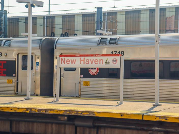 A station stop in New Haven, Connecticut while on Amtrak's Northeast Regional train from New York to Boston - Amtrak Northeast Regional New York to Boston