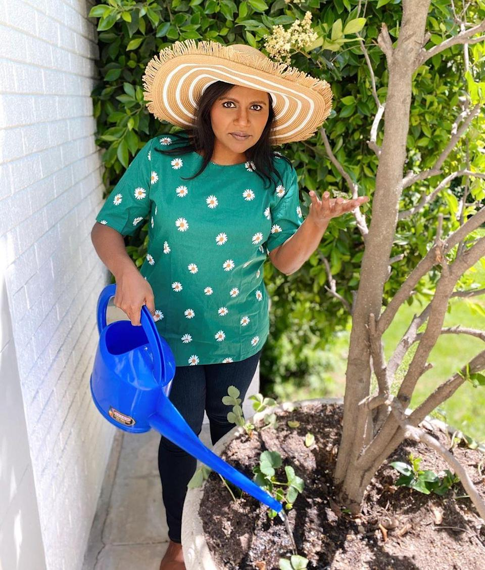 """<p>""""I planted these a few weeks ago, where are my strawberries?!"""" <a href=""""https://www.instagram.com/p/CDKStMsF2xl/"""" rel=""""nofollow noopener"""" target=""""_blank"""" data-ylk=""""slk:joked"""" class=""""link rapid-noclick-resp"""">joked</a> the <em>Mindy Project</em> star, blue watering can in hand. </p>"""