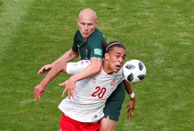 Soccer Football - World Cup - Group C - Denmark vs Australia - Samara Arena, Samara, Russia - June 21, 2018 Denmark's Yussuf Poulsen in action with Australia's Aaron Mooy REUTERS/David Gray TPX IMAGES OF THE DAY