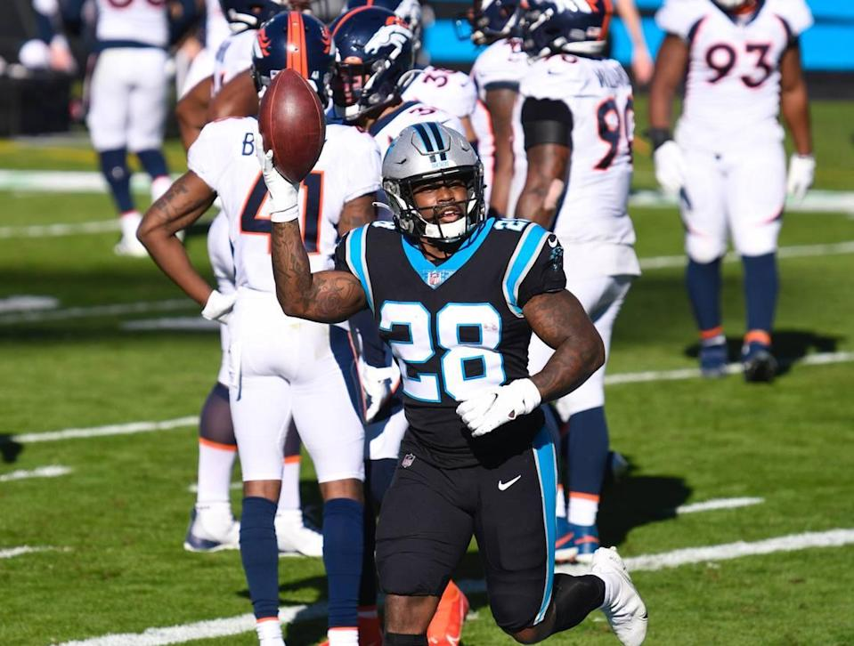Carolina Panthers running back Mike Davis (28) celebrates after a touchdown during the second quarter of their game Sunday, December 13, 2020.