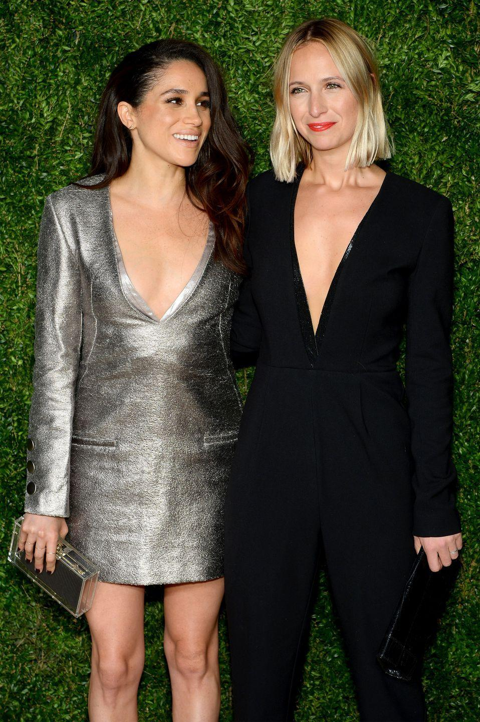 """<p>Another friend that could be responsible for Meghan and Harry's whirlwind romance is fashion designer Misha Nonoo. She, too, was part of Meghan's first debut with Harry. During the couple's first official public appearance, Meghan wore a white button-down from the designer. While Misha hasn't weighed in on speculation that she introduced the pair, she told the <em><a href=""""https://www.nytimes.com/2019/09/12/style/misha-nonoo-meghan-markle.html"""" rel=""""nofollow noopener"""" target=""""_blank"""" data-ylk=""""slk:New York Times"""" class=""""link rapid-noclick-resp"""">New York Times</a> </em>last September that Meghan is """"the most generous, the most genuine person, such a sister in the sense that, you know, if you're her friend, she'll do anything for you."""" The friends also collaborated on Meghan's recent <a href=""""https://www.elle.com/culture/celebrities/a29085695/meghan-markle-smart-works-collection-shoot-photos/"""" rel=""""nofollow noopener"""" target=""""_blank"""" data-ylk=""""slk:Smart Works"""" class=""""link rapid-noclick-resp"""">Smart Works</a> capsule collection. </p>"""