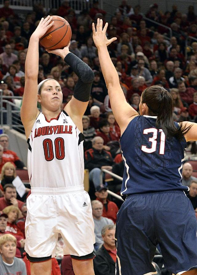 Louisville's Sara Hammond, left, puts up a shot over the defense of Connecticut's Stefanie Dolson during the first half of an NCAA college basketball game, Monday, March 3, 2014, in Louisville, Ky. (AP Photo/Timothy D. Easley)