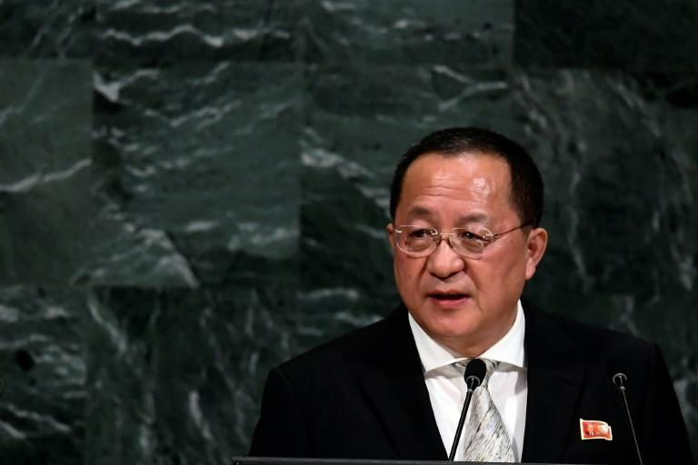North Korea's Foreign Minister Ri Yong Ho addresses the 72nd session of the United Nations General assembly at the UN headquarters in New York on September 23, 2017