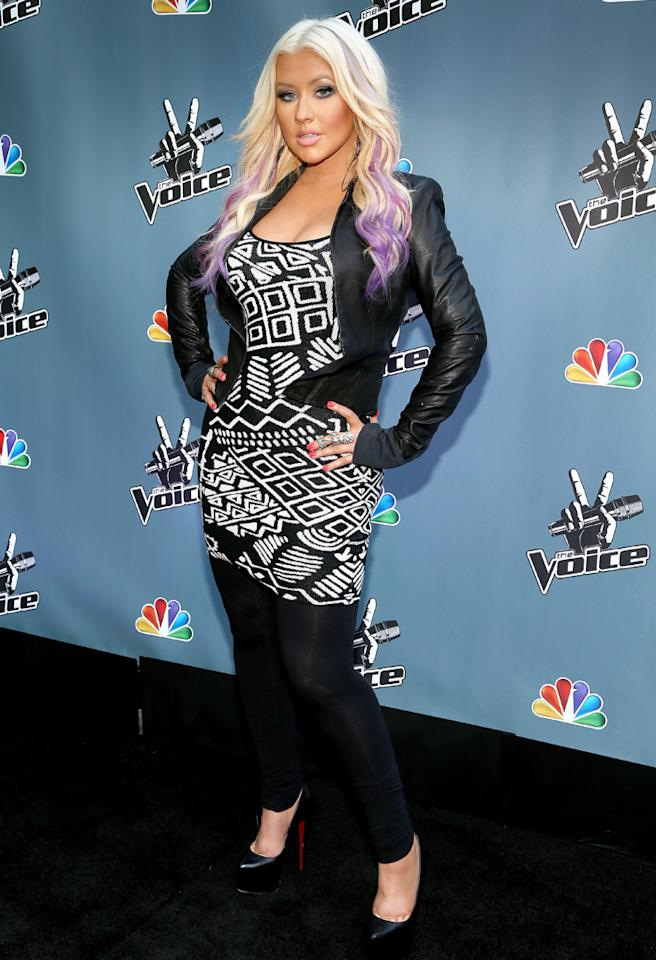 "LOS ANGELES, CA - AUGUST 12:  The Voice's Christina Aguilera attends the NBCUniversal's ""The Voice"" Press Junket and cocktail reception on August 12, 2012 in Los Angeles, California.  (Photo by Christopher Polk/Getty Images for NBCUniversal)"