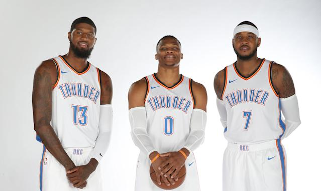 Carmelo Anthony is finally part of a Big Three with Paul George, left, and Russell Westbrook, middle. (Getty)