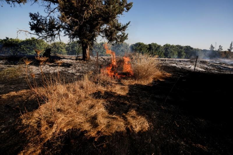 A field on fire is seen after Palestinians in Gaza sent incendiary balloons over the border between Gaza and Israel, Near Nir Am