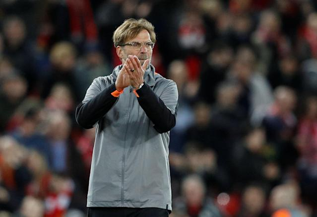 Soccer Football - Champions League Semi Final First Leg - Liverpool vs AS Roma - Anfield, Liverpool, Britain - April 24, 2018 Liverpool manager Juergen Klopp applauds fans after the match REUTERS/Phil Noble