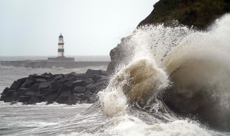 Giant waves at Seaham in County Durham, as the bad weather continues, even after Storm Francis has moved on. (Photo by Owen Humphreys/PA Images via Getty Images)