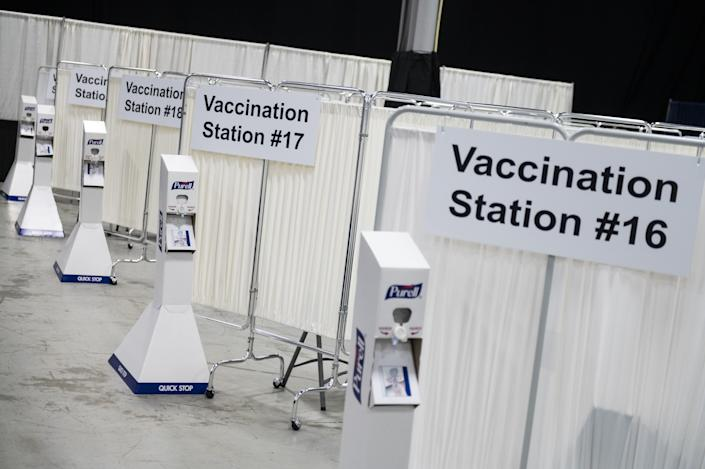 Vaccination stations at the New Jersey Convention and Exposition Center.