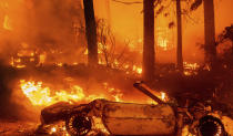 Flames consume vehicles as the Dixie Fire tears through the Indian Falls community in Plumas County, Calif., Saturday, July 24, 2021. The fire destroyed multiple residences in the area. (AP Photo/Noah Berger)