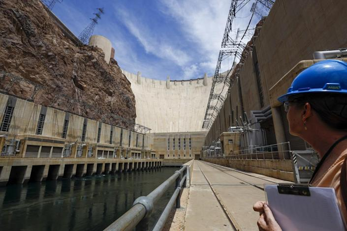 Patti Aaron tours the outflow area at the bottom of Hoover Dam