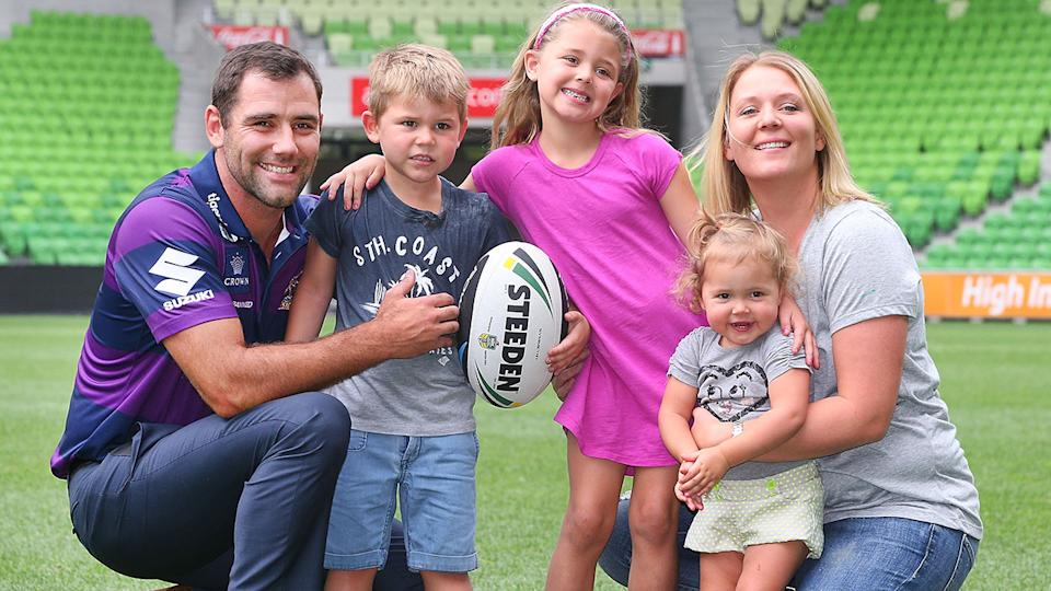 Cameron Smith, pictured here with his family at AAMI Park in 2014.