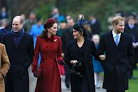 <p>Prince William, Kate Middleton, Meghan Markle (then expecting baby Archie) and Prince William shared a smile on the royals' annual walk from the Christmas day services at St. Mary's Church near their Sandringham estate in England.</p>