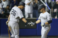 New York Yankees Brett Gardner right, celebrates his home run with teammate DJ LeMahieu during the seventh inning of a baseball game against the Toronto Blue Jays, Tuesday, June 15, 2021, in Buffalo, N.Y. (AP Photo/Jeffrey T. Barnes)