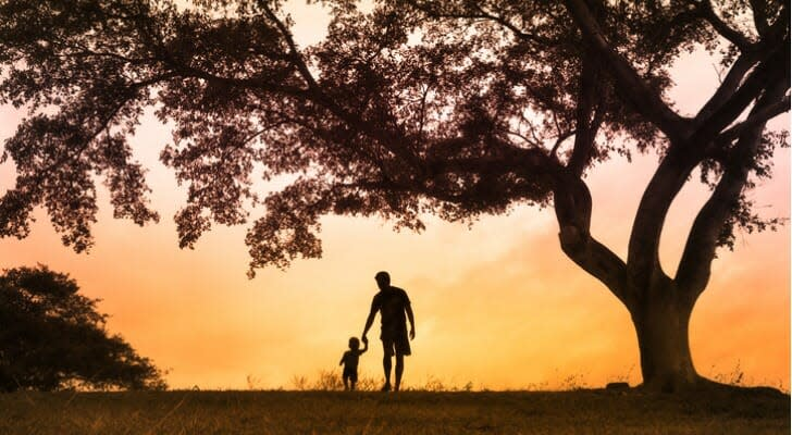 Father walks with his son