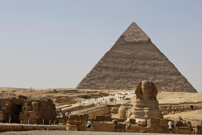 A picture taken on October 2, 2018, shows a view of the pyramid of Khafre (also spelled Chephren) and the Sphynx on the Giza Plateau, on the southwestern outskirts of the Egyptian capital Cairo. (Photo by JOSEPH EID / AFP) (Photo credit should read JOSEPH EID/AFP/Getty Images)