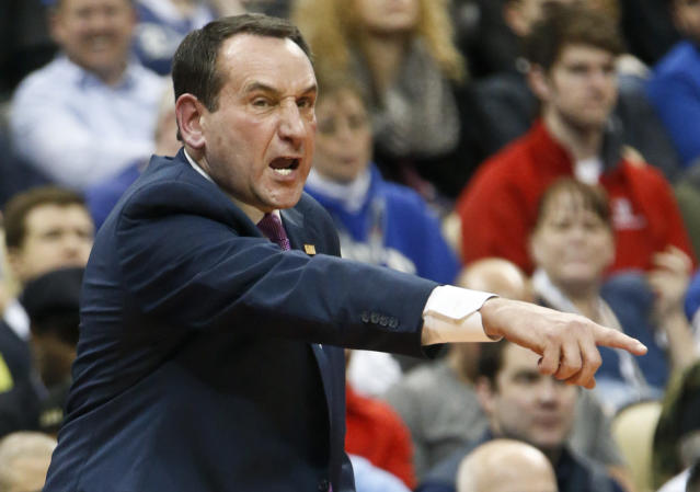 Duke coach Mike Krzyzewski gives instruction to his team as they play against the Iona during the first half of an NCAA men's college basketball tournament first-round game, Thursday, March 15, 2018, in Pittsburgh. (AP Photo/Keith Srakocic)