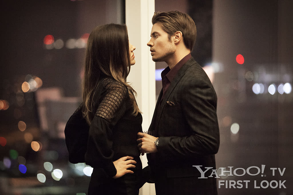 "Pamela Rebecca Barnes (Julie Gonzalo) and John Ross Ewing (Josh Henderson) in Season 2 of ""Dallas"" on TNT."