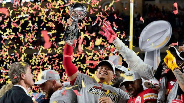 PHOTO: Kansas City Chiefs' Patrick Mahomes celebrates with the Vince Lombardi trophy after winning the Super Bowl LIV at Hard Rock Stadium in Miami, Feb. 2, 2020. (Mike Blake/Reuters)