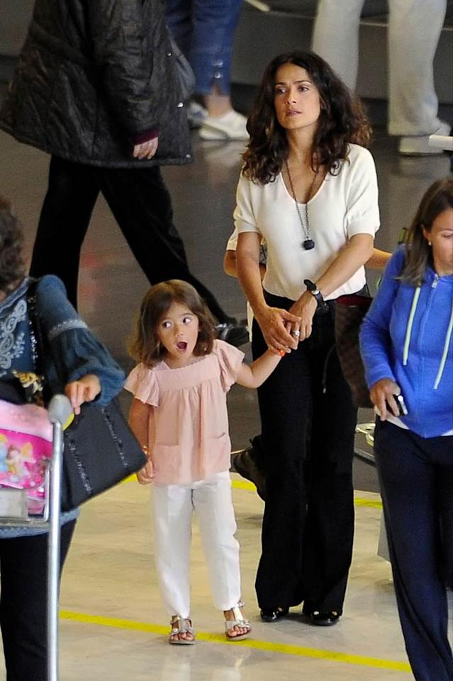 "Salma Hayek and her sweetie, 3-year-old daughter Valentina, landed in Paris on Friday, along with Valentina's dad, Francois-Henri Pinault, and his two children from a previous marriage, Mathilde and Francois. The sexy star was clearly frazzled from the long flight! <a href=""http://www.pacificcoastnews.com/"" target=""new"">PacificCoastNews.com</a> - August 26, 2011"