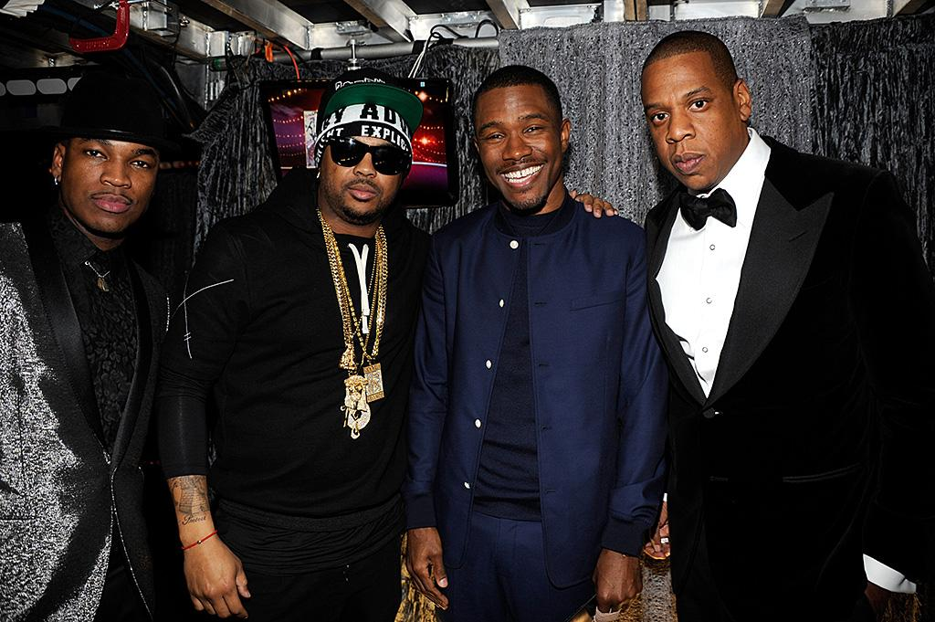 LOS ANGELES, CA - FEBRUARY 10:  Frank Ocean and Jay-Z attend the 55th Annual GRAMMY Awards at STAPLES Center on February 10, 2013 in Los Angeles, California.  (Photo by Kevin Mazur/WireImage)