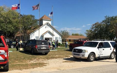 <span>Emergency personnel respond to a fatal shooting at a Baptist church in Sutherland Springs, Texas</span> <span>Credit: KSAT via AP </span>