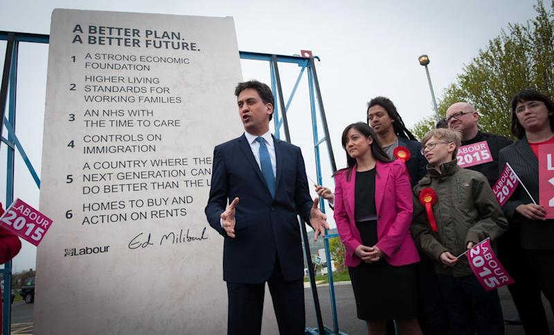 Labour's pledges carved into a stone plinth in Hastings: PA