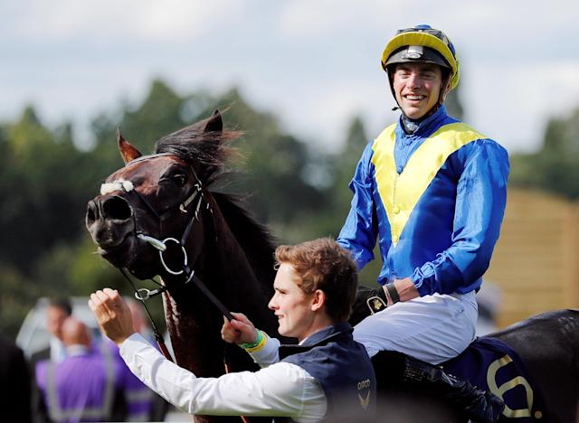 Horse Racing - Royal Ascot - Ascot Racecourse, Ascot, Britain - June 20, 2018 James Doyle on Poet's Word celebrates winning the 4.20 Prince of Wales's Stakes Action Images via Reuters/Andrew Boyers