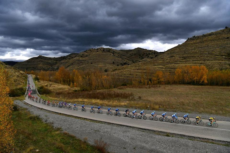 VINUESA SPAIN  OCTOBER 22 Peloton  Autumn  Mountains  Landscape  during the 75th Tour of Spain 2020 Stage 3 a 1661km stage from Lodosa to La Laguna Negra  Vinuesa 1735m  lavuelta  LaVuelta20  La Vuelta  on October 22 2020 in Vinuesa Spain Photo by Justin SetterfieldGetty Images