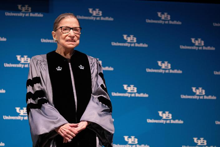 U.S. Supreme Court Justice Ruth Bader Ginsburg smiles during a reception where she was presented with an honorary doctoral degree at the University of Buffalo School of Law in Buffalo, New York, U.S., August 26, 2019. REUTERS/Lindsay DeDario