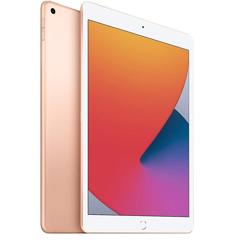 """<p><strong>Apple</strong></p><p>amazon.com</p><p><strong>$299.00</strong></p><p><a href=""""https://www.amazon.com/dp/B08J5J9699?tag=syn-yahoo-20&ascsubtag=%5Bartid%7C10054.g.36186166%5Bsrc%7Cyahoo-us"""" rel=""""nofollow noopener"""" target=""""_blank"""" data-ylk=""""slk:Buy"""" class=""""link rapid-noclick-resp"""">Buy</a></p><p>If you're one-half of a tech-savvy couple approaching 50 years together—huge congrats—an iPad will probably get a lot more use than a gold-plated whatever. And keeping in the theme, the newest iPad comes in gold.</p>"""
