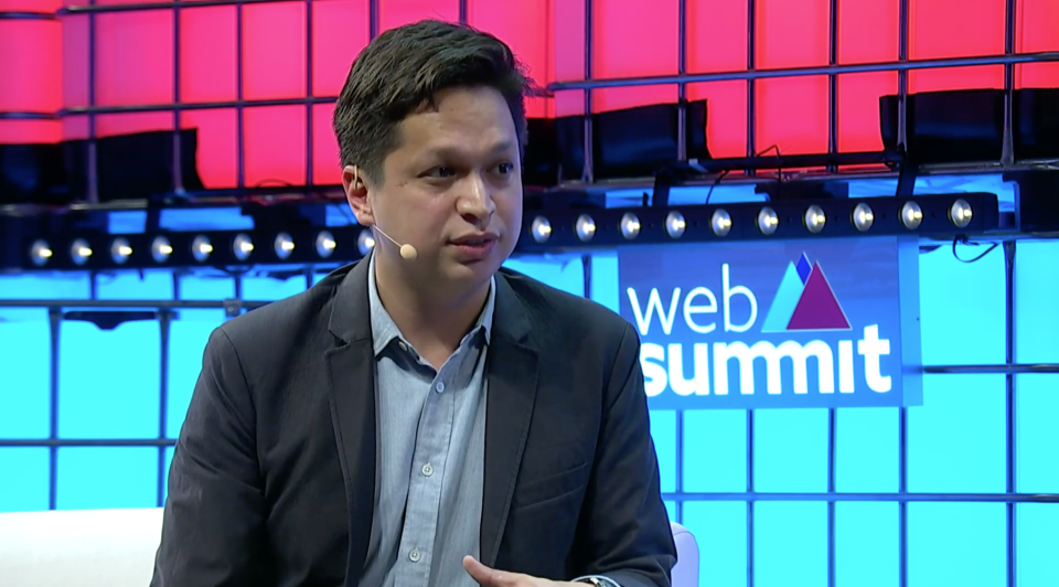 Pinterest CEO Ben Silbermann onstage during a fireside chat at this year's WebSummit conference in Lisbon, Portugal. Source: WebSummit