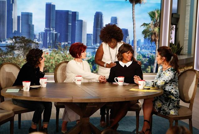 Aisha Tyler announced on Thursday's <em>The Talk</em> that she will not return as one of the show's hosts next season. She's pictured with Sara Gilbert, Sharon Osbourne, Sheryl Underwood, and Julie Chen. (Photo: Monty Brinton/CBS)