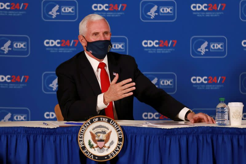 FILE PHOTO: U.S. Vice President Mike Pence speaks during a briefing at the Centers of Disease Control and Prevention (CDC), in Atlanta