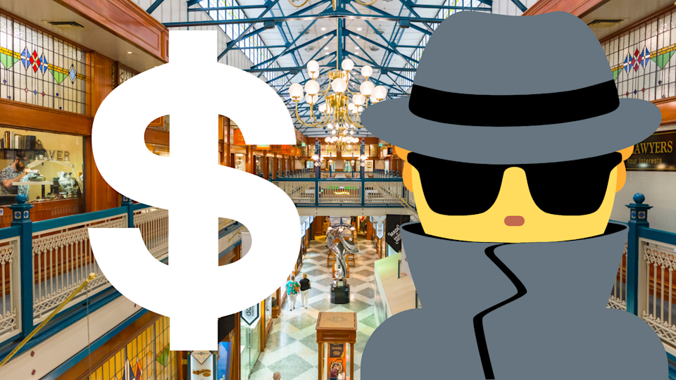 Pictured: Australian shopping centre, dollar sign and a thief. Image: Getty
