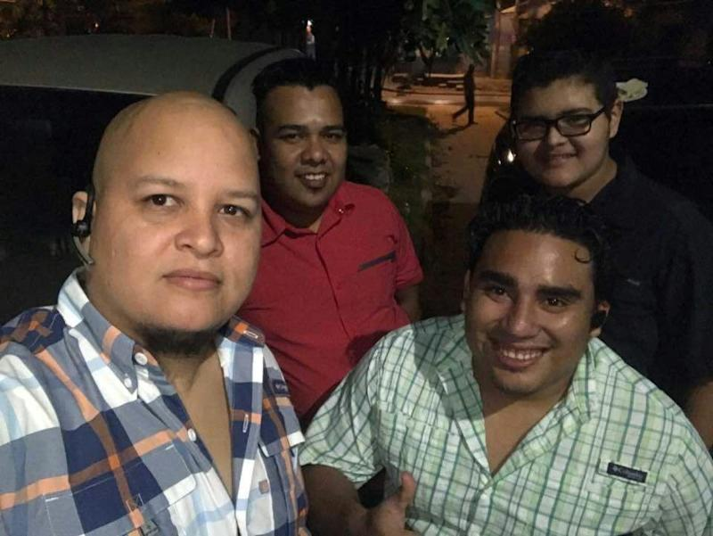 Honduran journalist Igor Padilla (L) was shot dead by men in police uniforms, according to a cameraman with the reporter