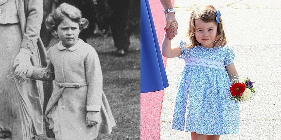 """<p><strong>LEFT:</strong> Princess Elizabeth walks with her mother at Edinburgh Castle in approximately 1931.</p><p><strong>RIGHT:</strong> Princess Charlotte of Cambridge arrives at Berlin Tegel Airport with her family on an official visit to Germany on July 19, 2017. </p><p><a href=""""https://www.goodhousekeeping.com/life/parenting/g5096/royal-family-baby-traditions/"""" rel=""""nofollow noopener"""" target=""""_blank"""" data-ylk=""""slk:RELATED: 30 Royal Baby Traditions You Didn't Realize Exist"""" class=""""link rapid-noclick-resp""""><strong>RELATED:</strong> 30 Royal Baby Traditions You Didn't Realize Exist</a></p>"""