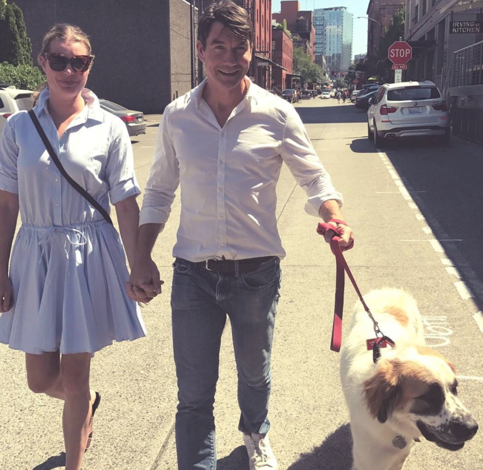Jerry O'Connell and his wife, Rebecca Romijn, and their dog Phil (Photo: Instagram)