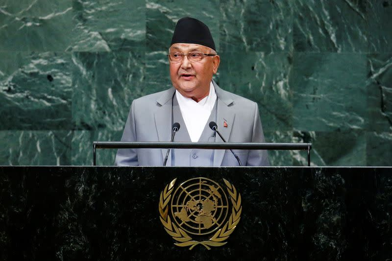 FILE PHOTO: Nepal's Prime Minister Sharma Oli addresses the 73rd session of the United Nations General Assembly at U.N. headquarters in New York